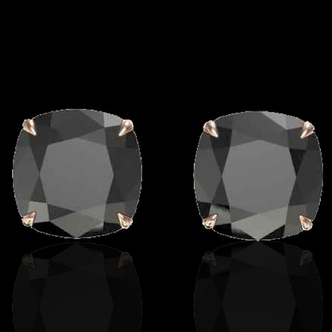 12 CTW Cushion Cut Black VS/SI Diamond Designer Stud