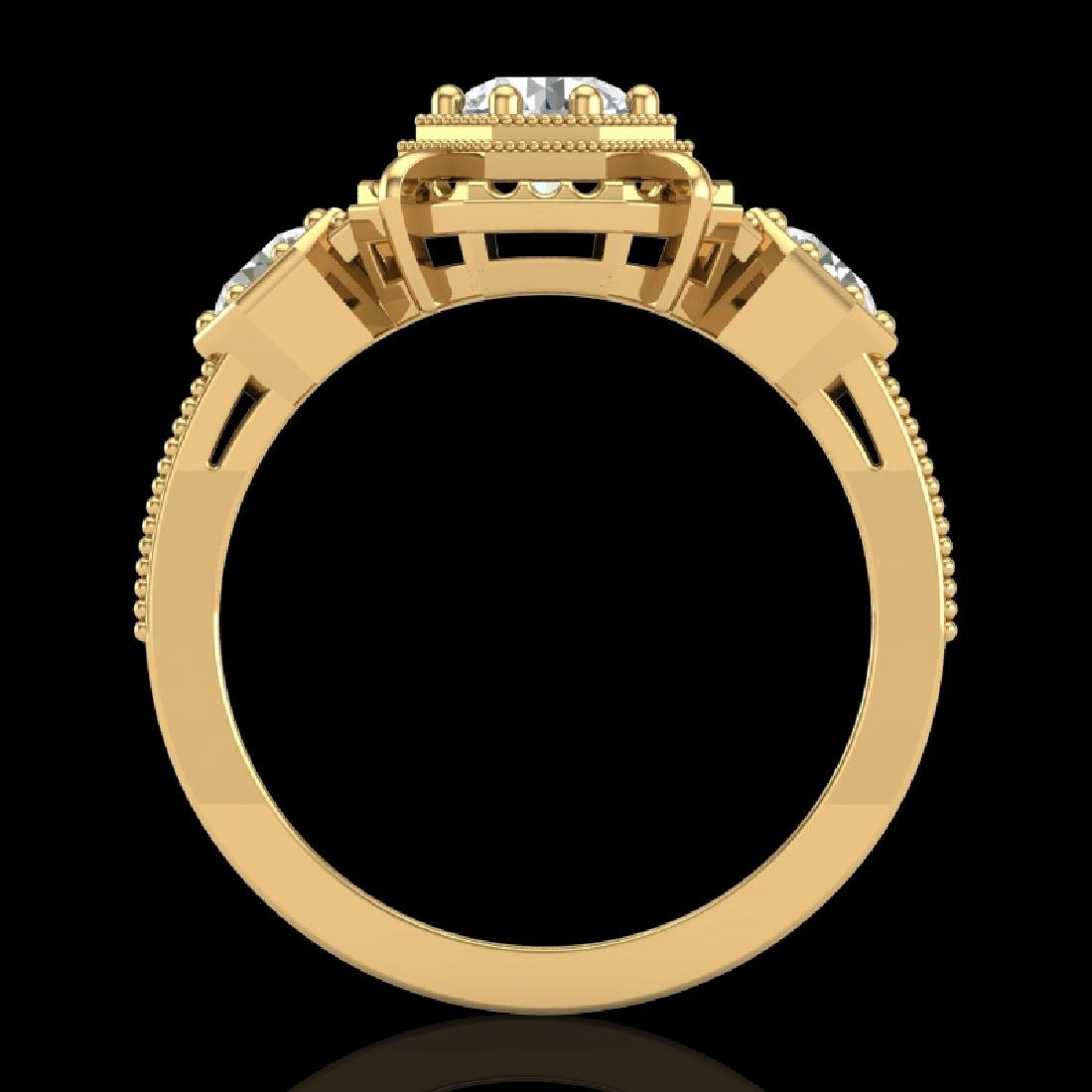 1.01 CTW VS/SI Diamond Solitaire Art Deco 3 Stone Ring