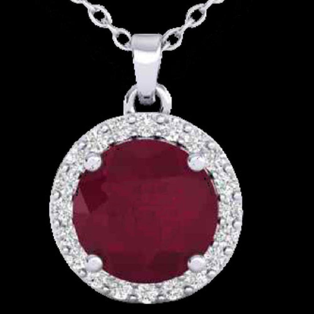 2 CTW Ruby & Halo VS/SI Diamond Micro Pave Necklace - 2