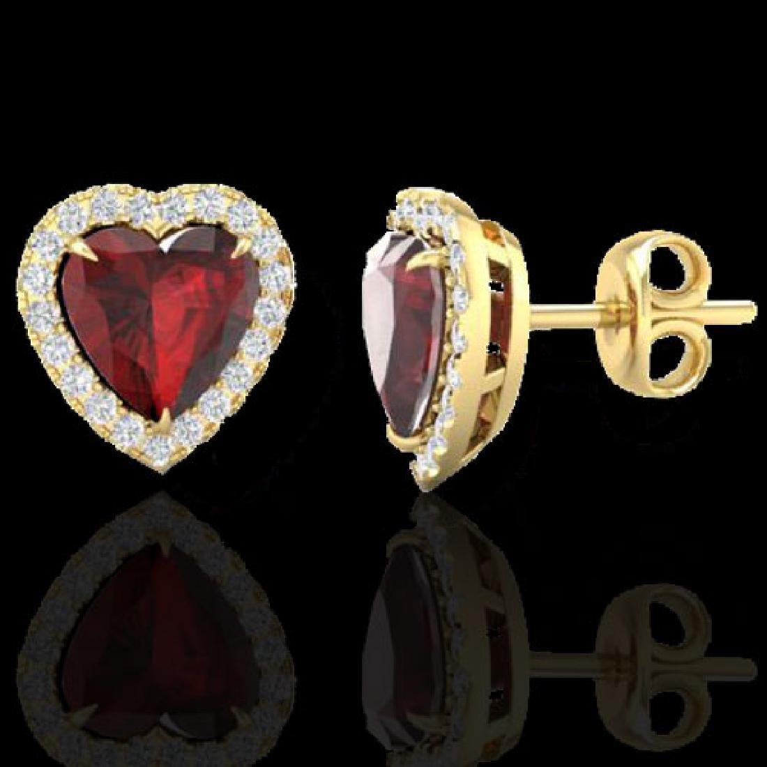 2.22 CTW Garnet & Micro Pave VS/SI Diamond Earrings - 2