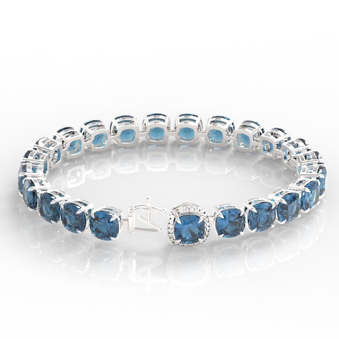 35 CTW London Blue Topaz & Micro VS/SI Diamond Halo - 3