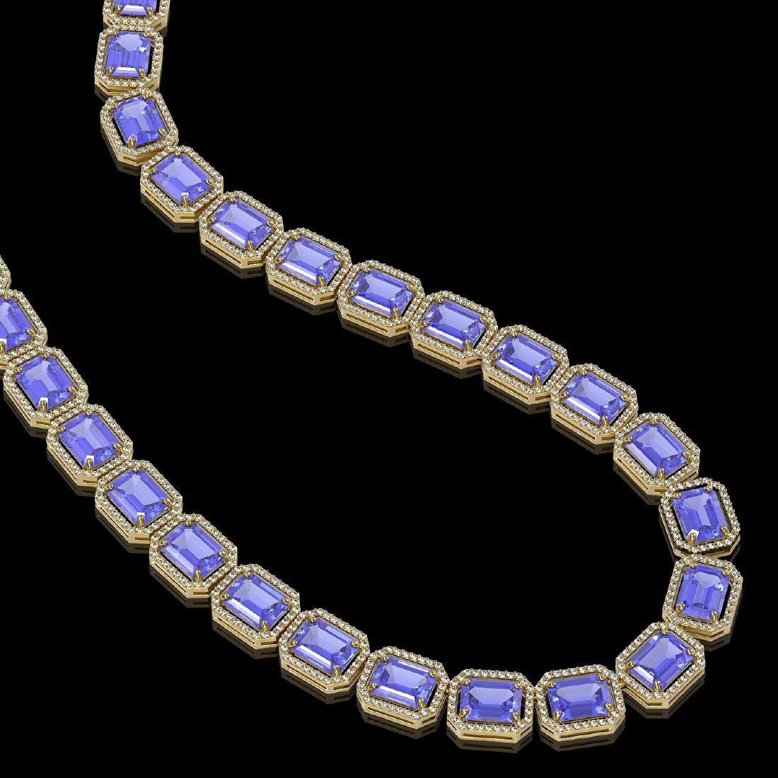 79.99 CTW Tanzanite & Diamond Halo Necklace 10K Yellow - 2