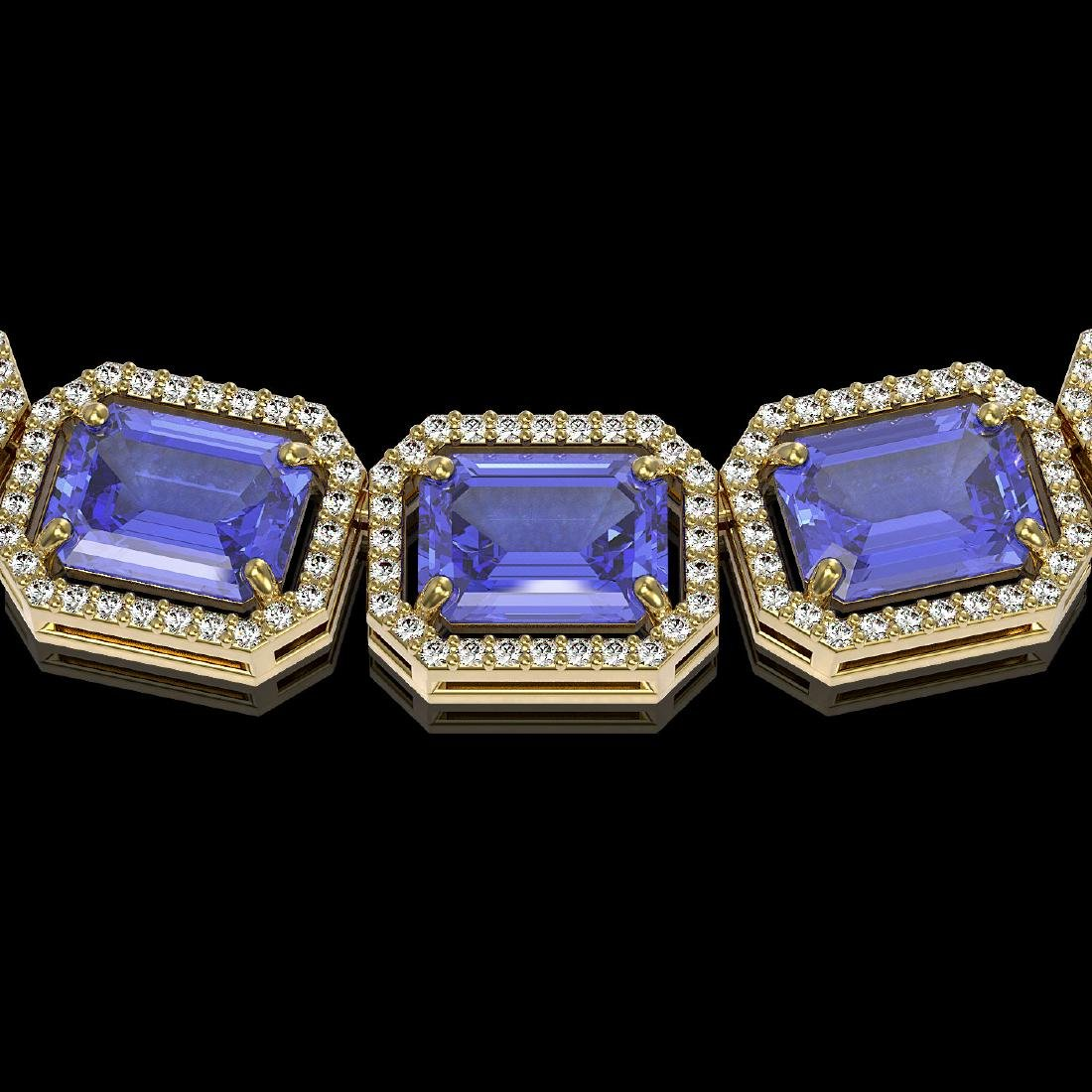 79.99 CTW Tanzanite & Diamond Halo Necklace 10K Yellow - 3