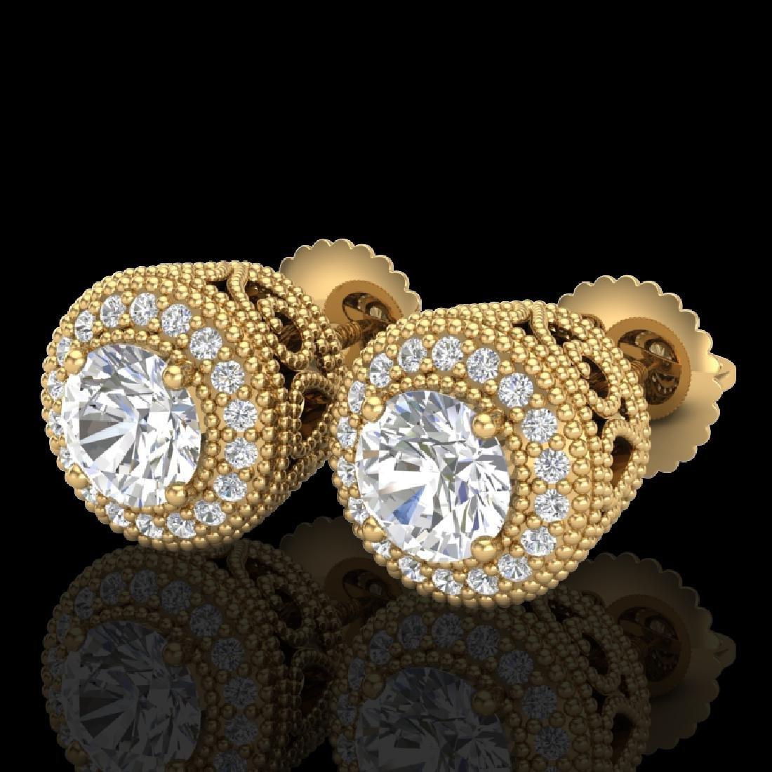 1.55 CTW VS/SI Diamond Solitaire Art Deco Stud Earrings