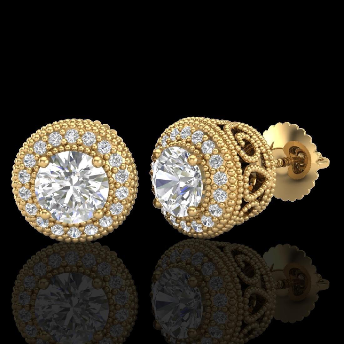 1.55 CTW VS/SI Diamond Solitaire Art Deco Stud Earrings - 2