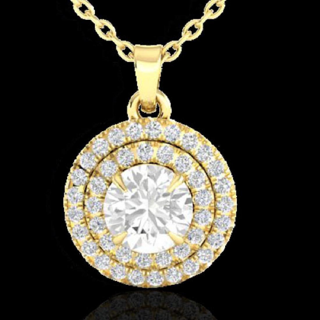 1 CTW Micro Pave VS/SI Diamond Solitaire Necklace