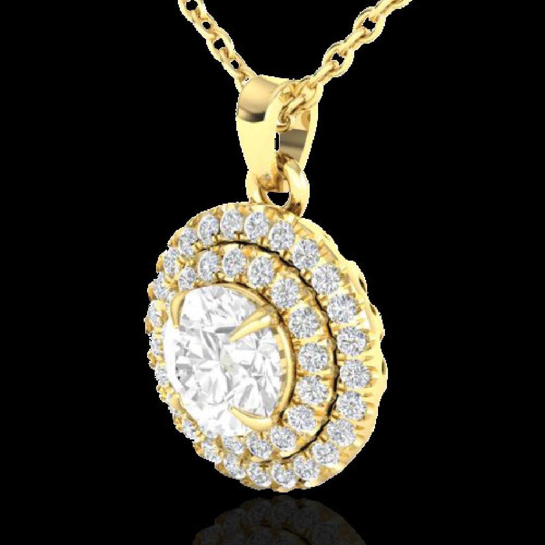 1 CTW Micro Pave VS/SI Diamond Solitaire Necklace - 2