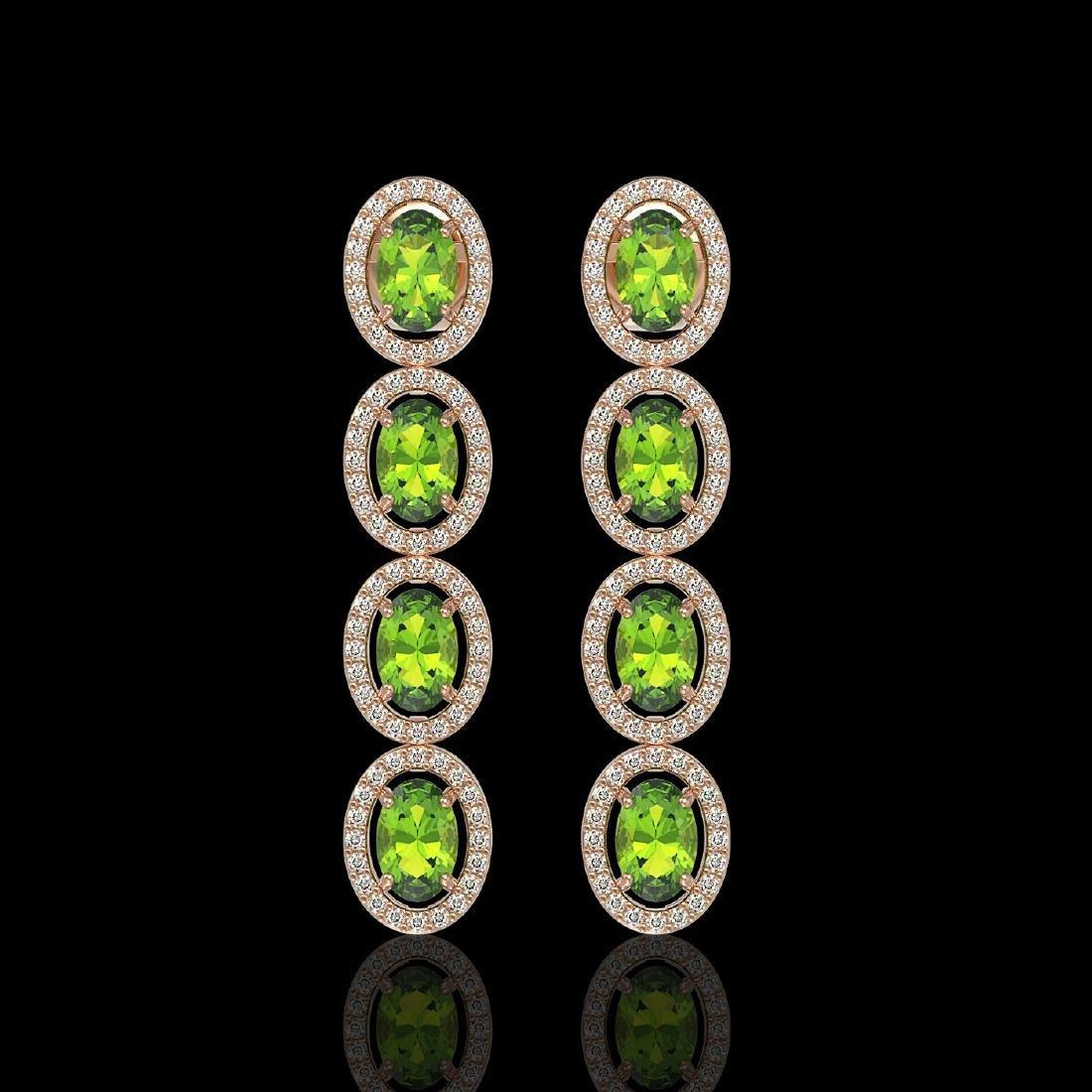 5.88 CTW Peridot & Diamond Halo Earrings 10K Rose Gold