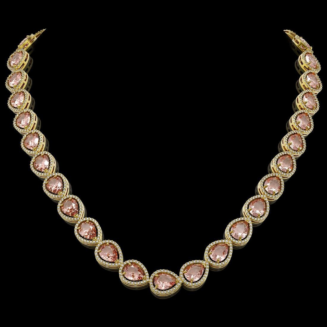 41.6 CTW Morganite & Diamond Halo Necklace 10K Yellow
