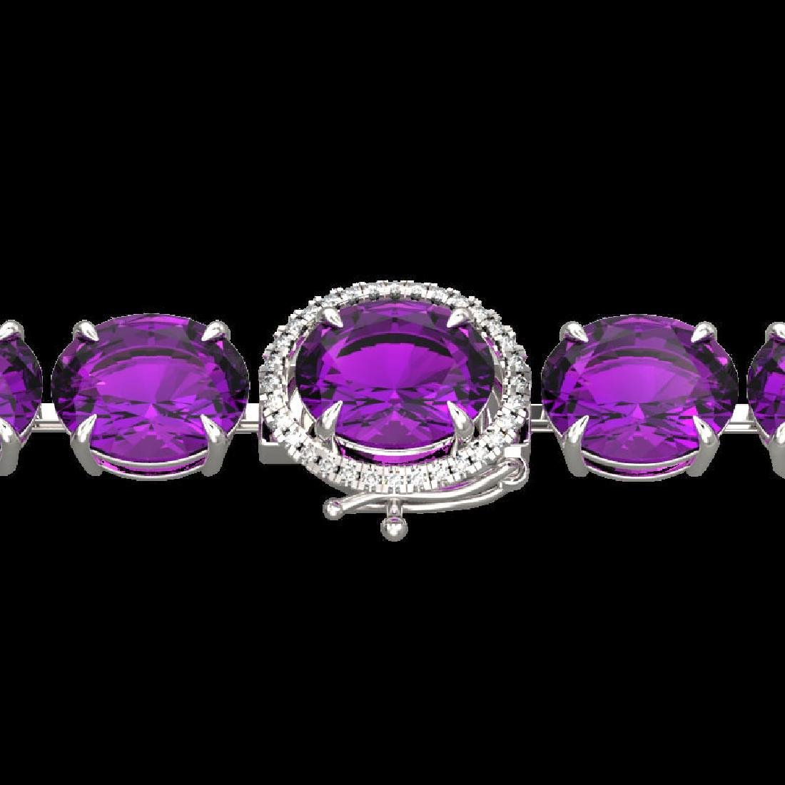 78 CTW Amethyst & Micro Pave VS/SI Diamond Halo
