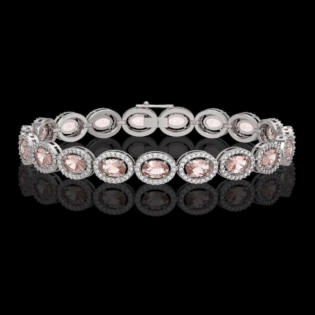 14.25 CTW Morganite & Diamond Halo Bracelet 10K White