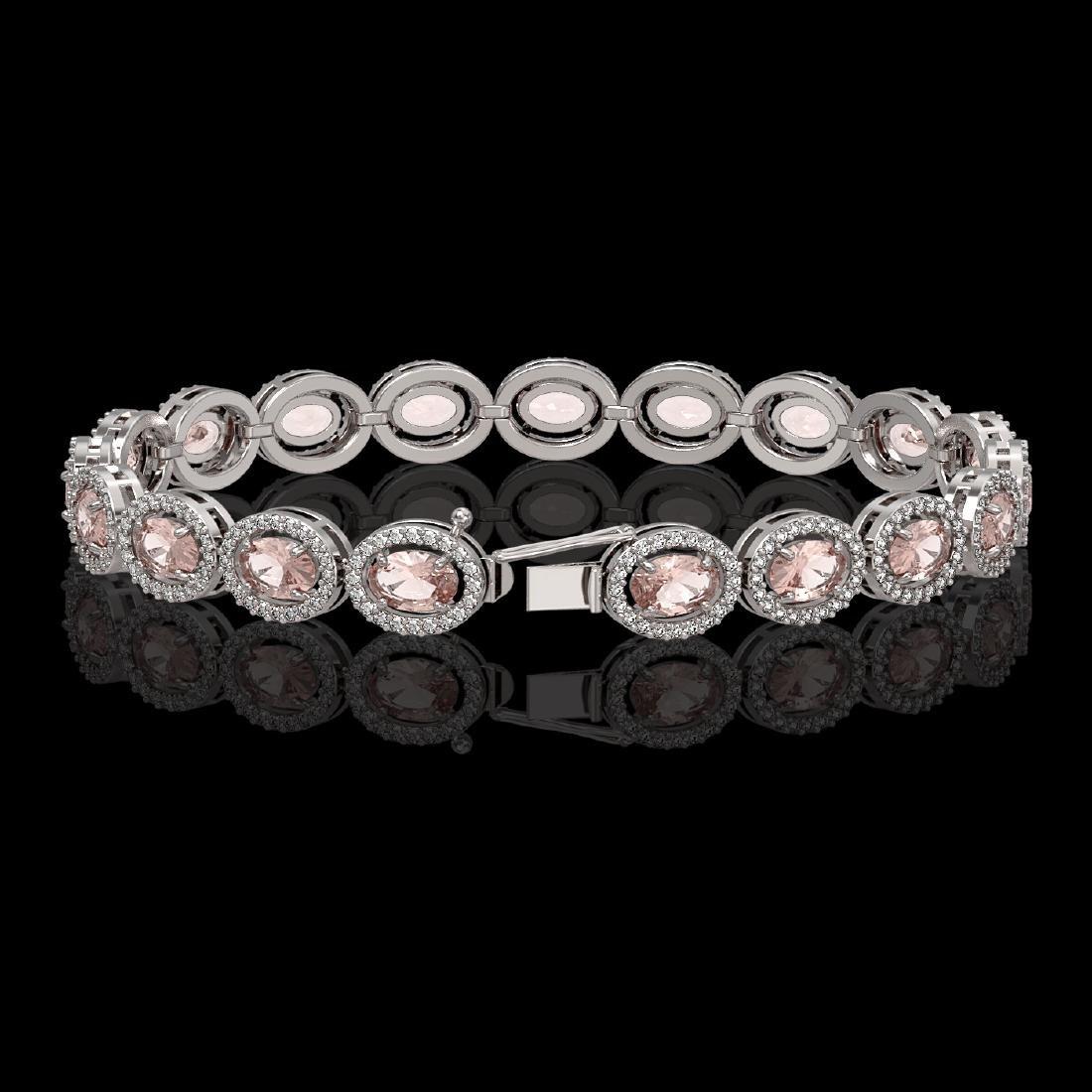14.25 CTW Morganite & Diamond Halo Bracelet 10K White - 2