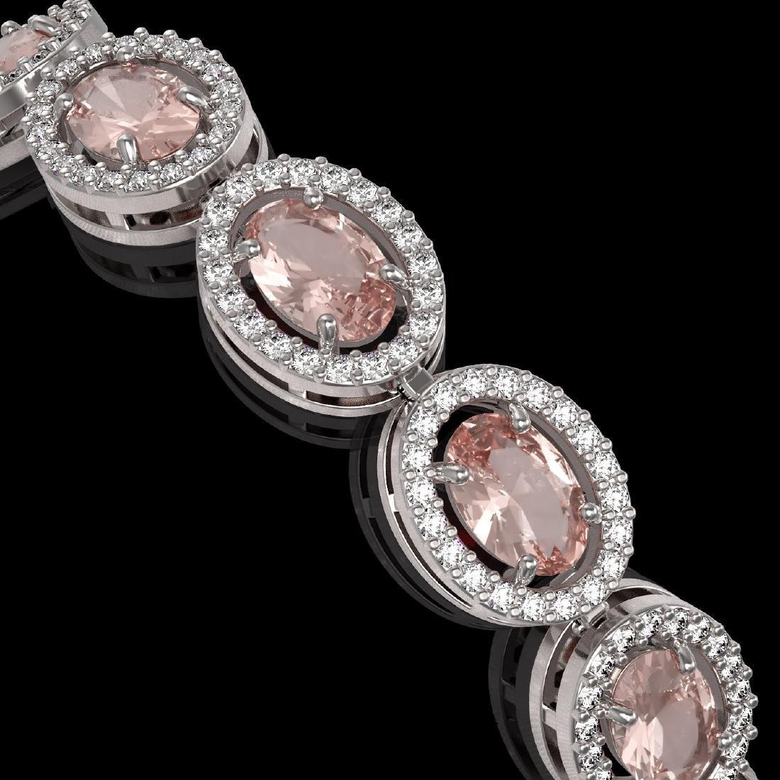 14.25 CTW Morganite & Diamond Halo Bracelet 10K White - 3