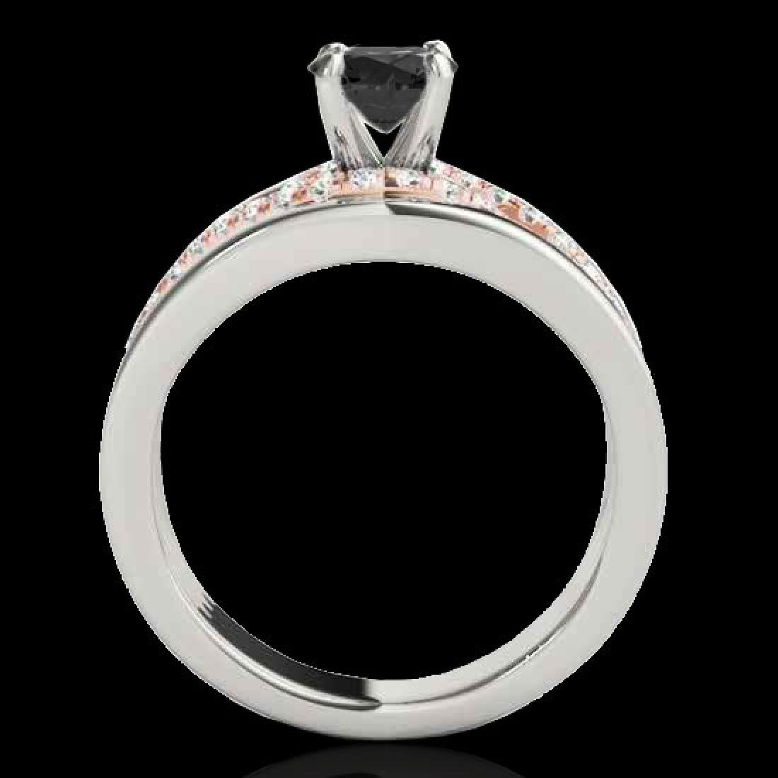 1.55 CTW Certified VS Black Diamond Solitaire Ring 10K - 2