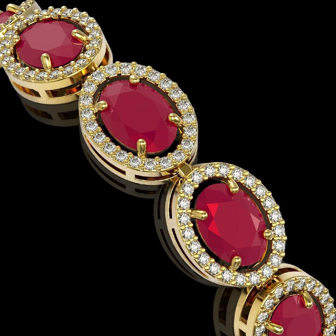 22.89 CTW Ruby & Diamond Halo Bracelet 10K Yellow Gold - 2