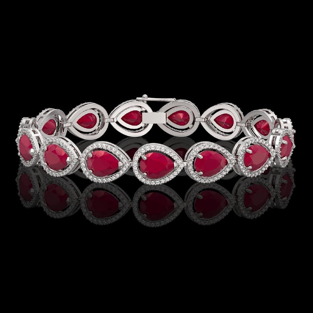 30.06 CTW Ruby & Diamond Halo Bracelet 10K White Gold