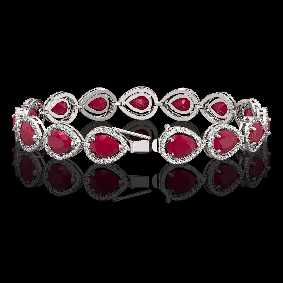 30.06 CTW Ruby & Diamond Halo Bracelet 10K White Gold - 2
