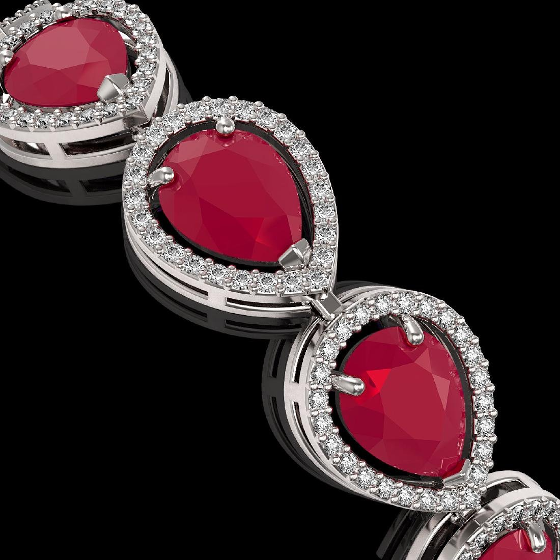 30.06 CTW Ruby & Diamond Halo Bracelet 10K White Gold - 3