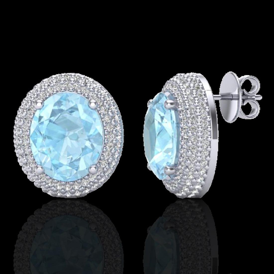 8 CTW Aquamarine & Micro Pave VS/SI Diamond Earrings - 2
