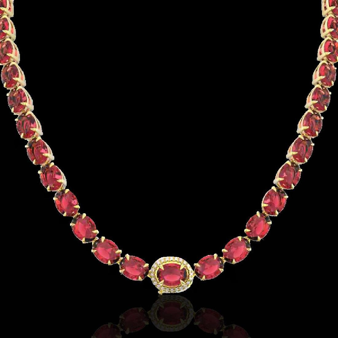 35.25 CTW Pink Tourmaline & VS/SI Diamond Micro Halo - 2