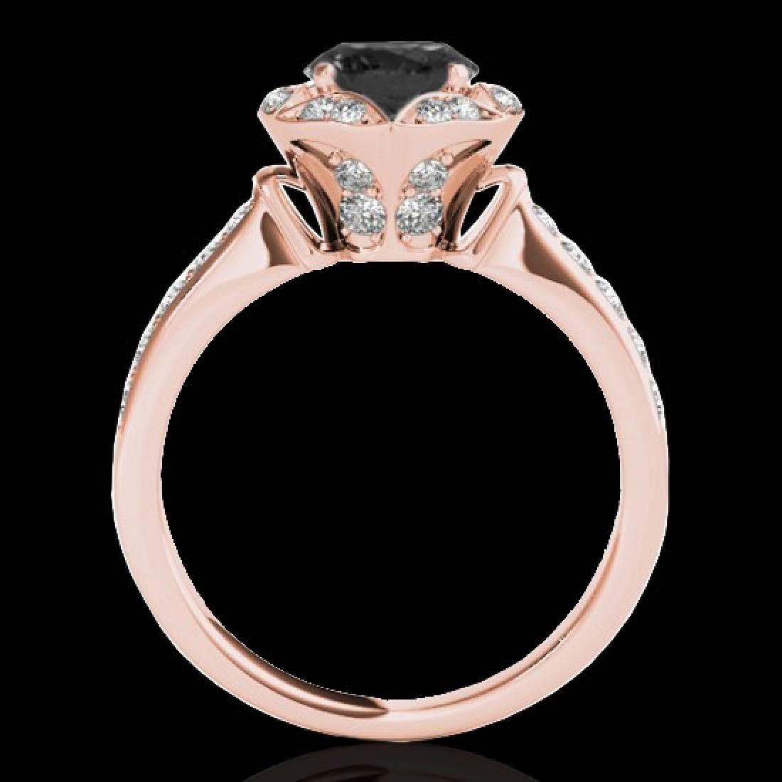 1.5 CTW Certified VS Black Diamond Solitaire Halo Ring - 2