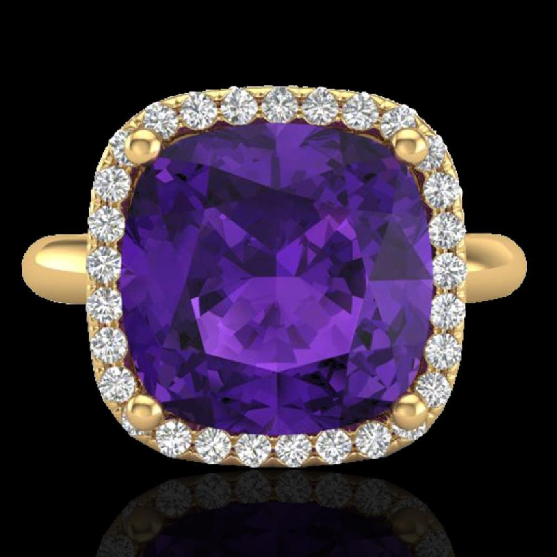 6 CTW Amethyst & Micro Pave Halo VS/SI Diamond Ring