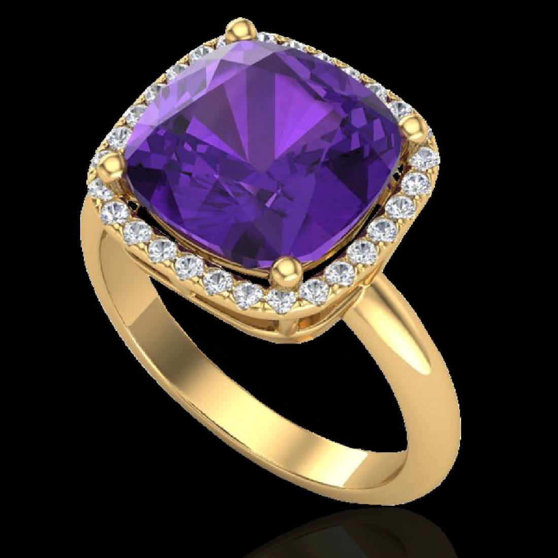 6 CTW Amethyst & Micro Pave Halo VS/SI Diamond Ring - 2