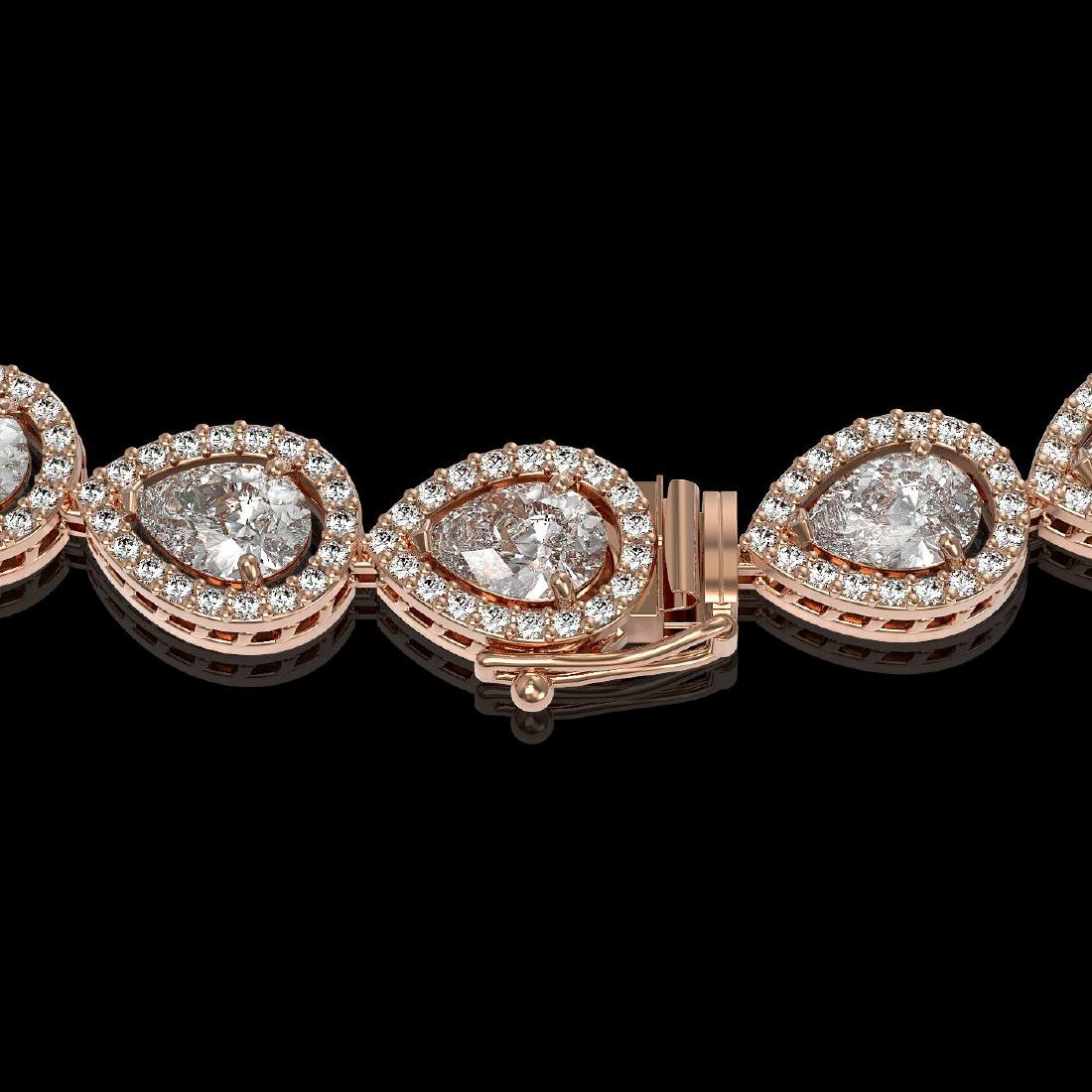 28.74 CTW Pear Diamond Designer Necklace 18K Rose Gold - 3