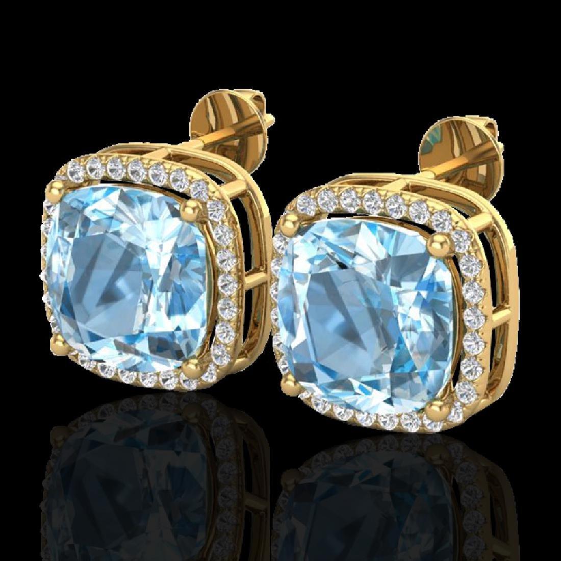 12 CTW Sky Blue Topaz & Micro Halo VS/SI Diamond