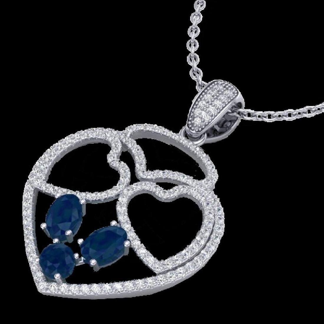 3 CTW Sapphire & Micro Pave Designer Inspired Heart
