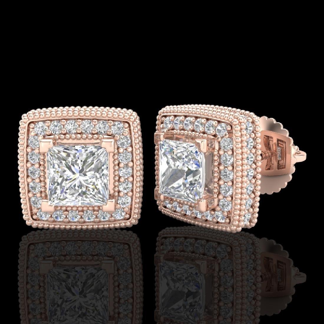 2.01 CTW Princess VS/SI Diamond Art Deco Stud Earrings - 2