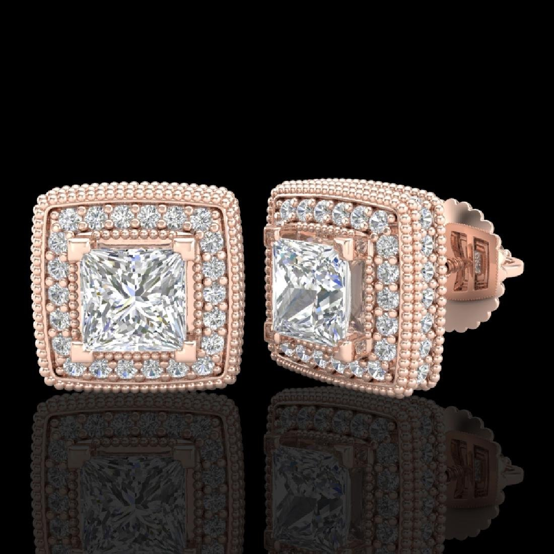 2.01 CTW Princess VS/SI Diamond Art Deco Stud Earrings - 2