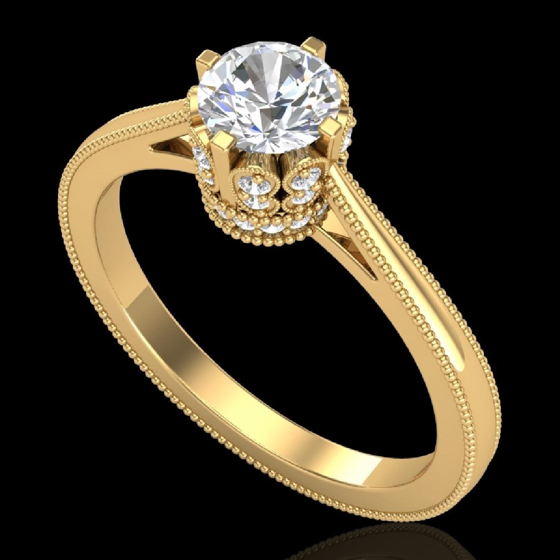 0.81 CTW VS/SI Diamond Art Deco Ring 18K Yellow Gold