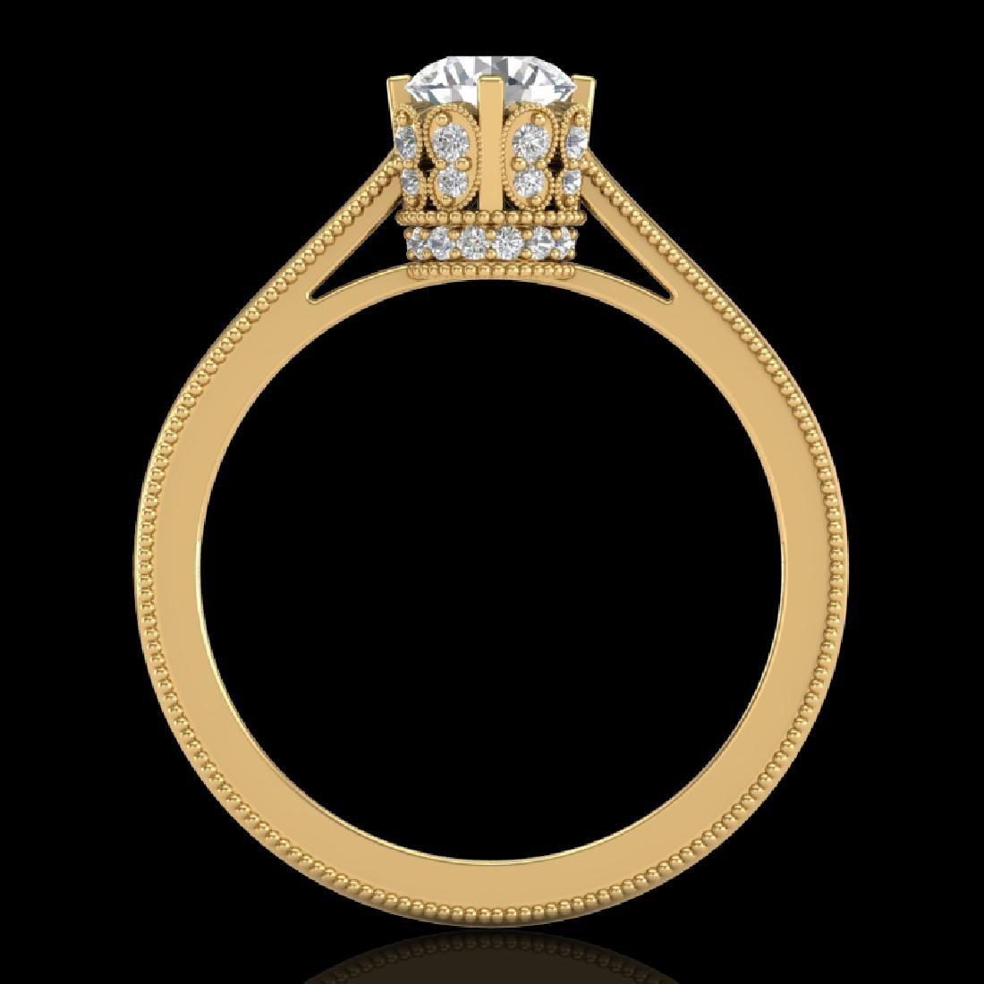 0.81 CTW VS/SI Diamond Art Deco Ring 18K Yellow Gold - 2