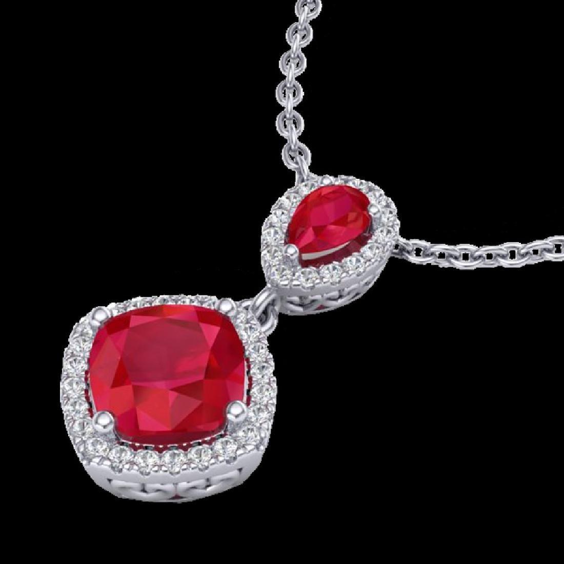 3.50 CTW Ruby & Micro Pave VS/SI Diamond Necklace Halo - 2
