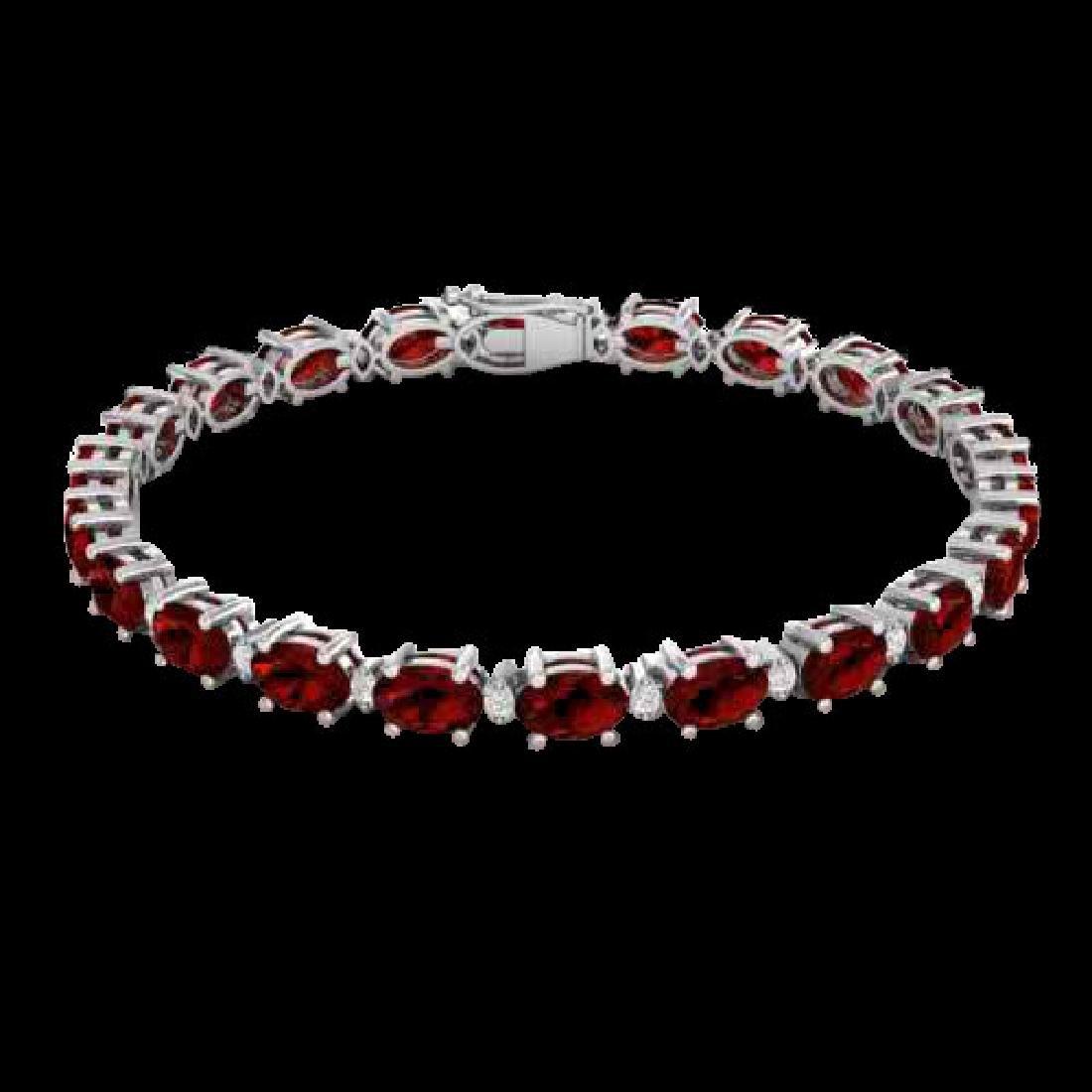 15 CTW Garnet & VS/SI Diamond Eternity Bracelet 10K - 2