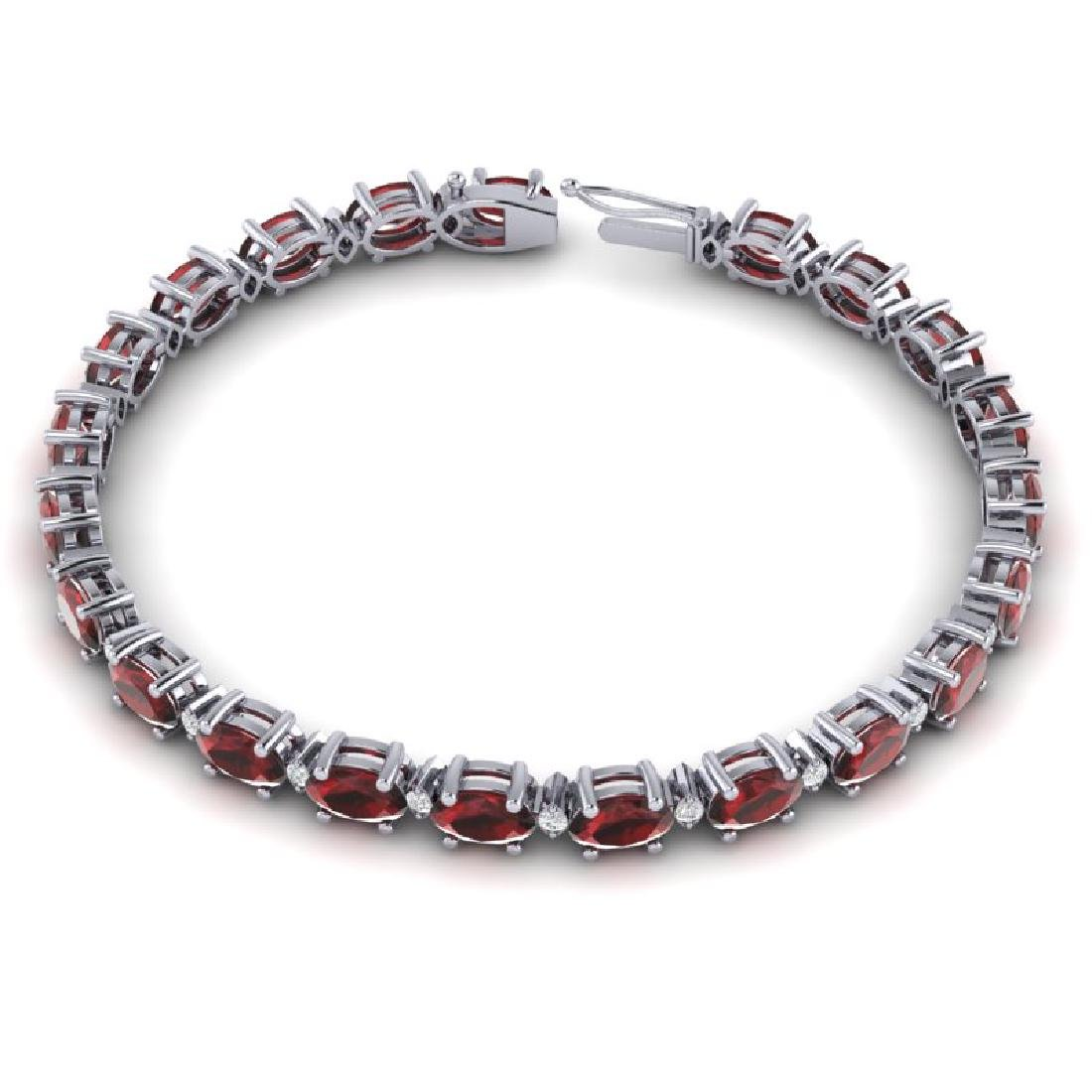 15 CTW Garnet & VS/SI Diamond Eternity Bracelet 10K - 3