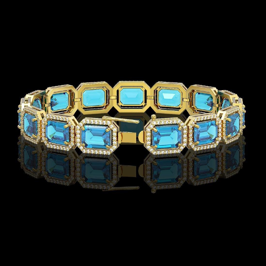 35.61 CTW Swiss Topaz & Diamond Halo Bracelet 10K - 2