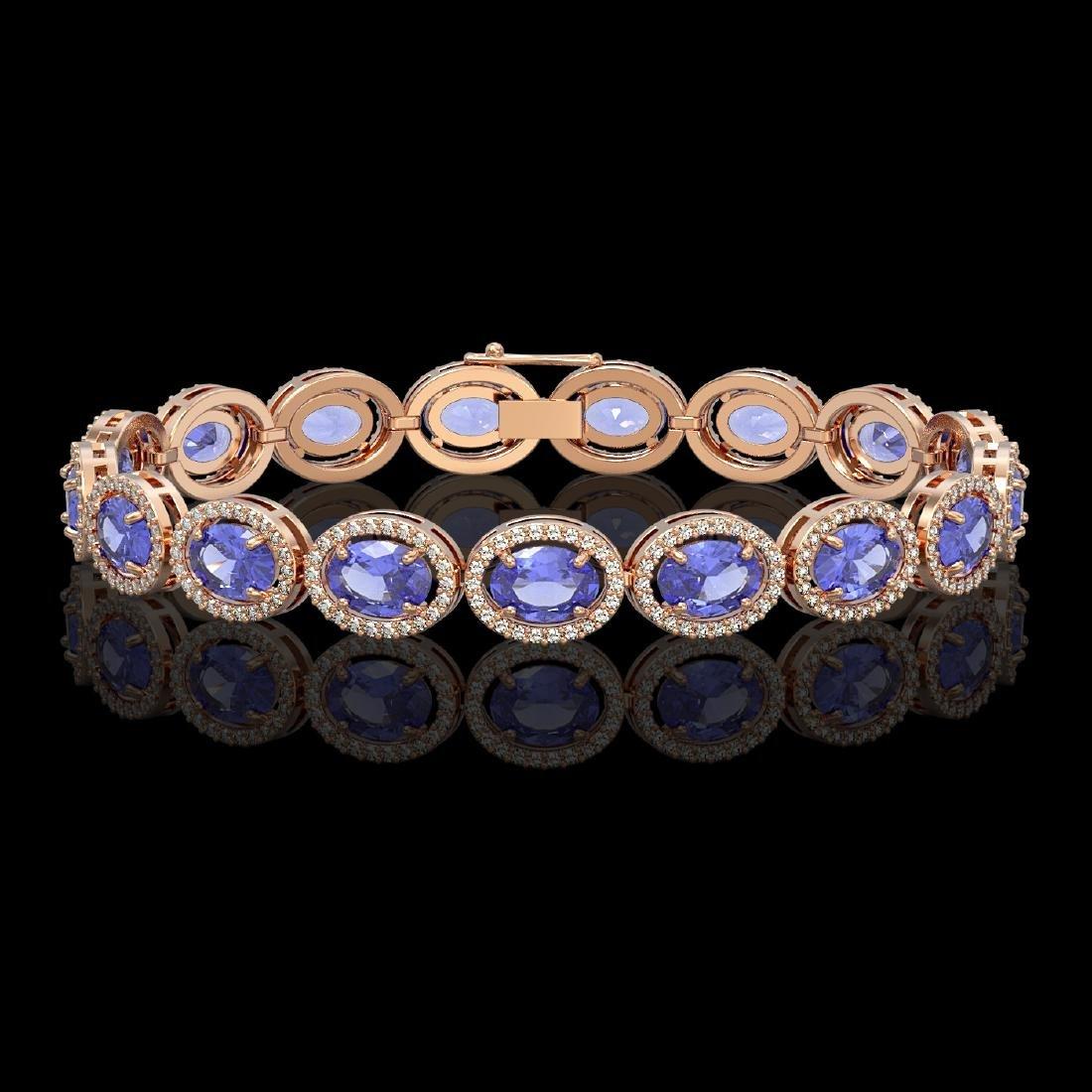 21.35 CTW Tanzanite & Diamond Halo Bracelet 10K Rose