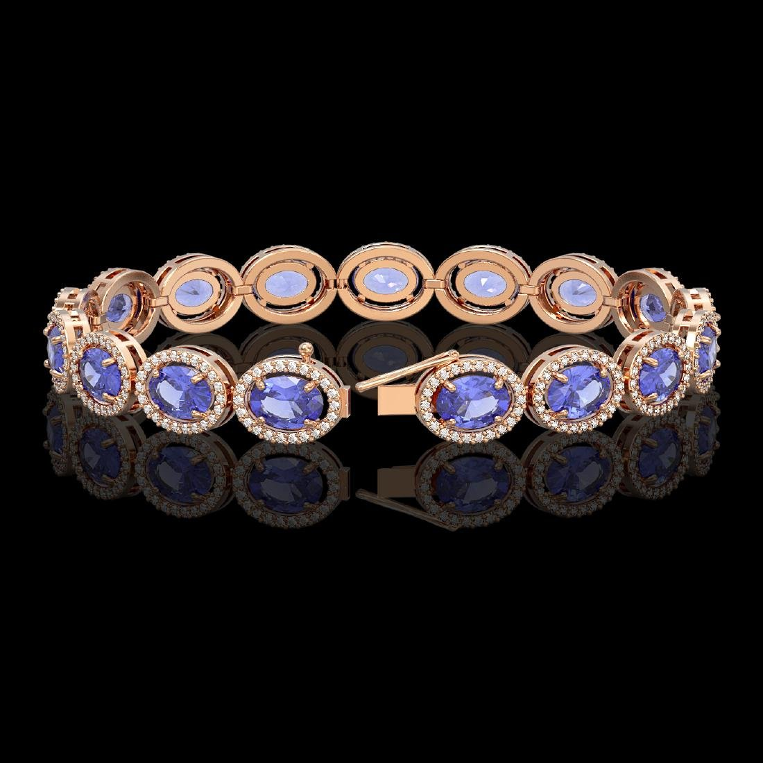 21.35 CTW Tanzanite & Diamond Halo Bracelet 10K Rose - 2