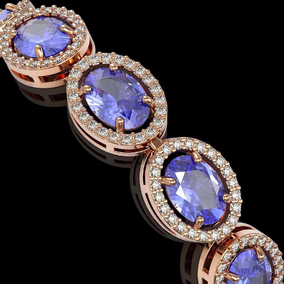 21.35 CTW Tanzanite & Diamond Halo Bracelet 10K Rose - 3
