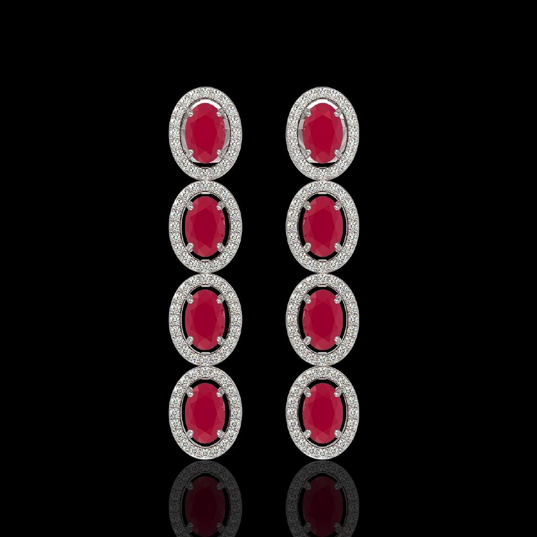 6.47 CTW Ruby & Diamond Halo Earrings 10K White Gold