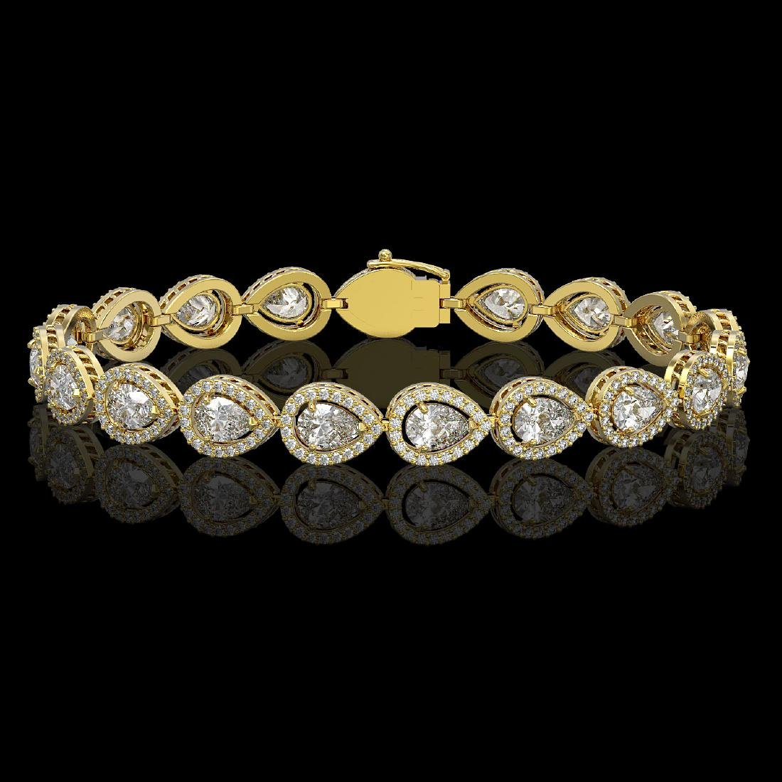 12.38 CTW Pear Diamond Designer Bracelet 18K Yellow
