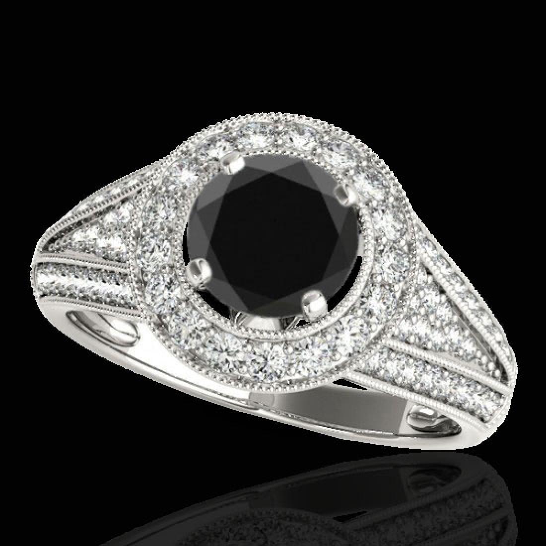 2.17 CTW Certified VS Black Diamond Solitaire Halo Ring