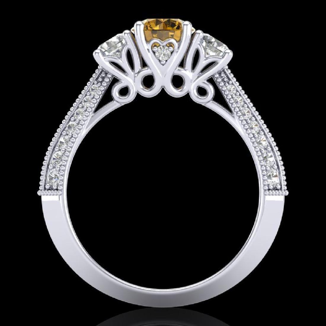1.81 CTW Intense Fancy Yellow Diamond Art Deco 3 Stone - 3