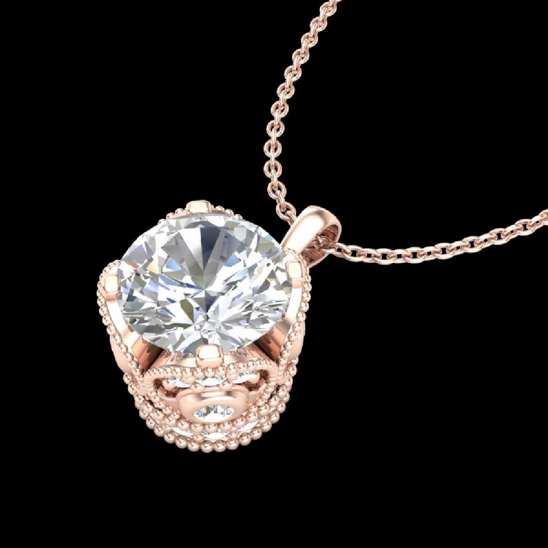 1.13 CTW VS/SI Diamond Solitaire Art Deco Stud Necklace - 2