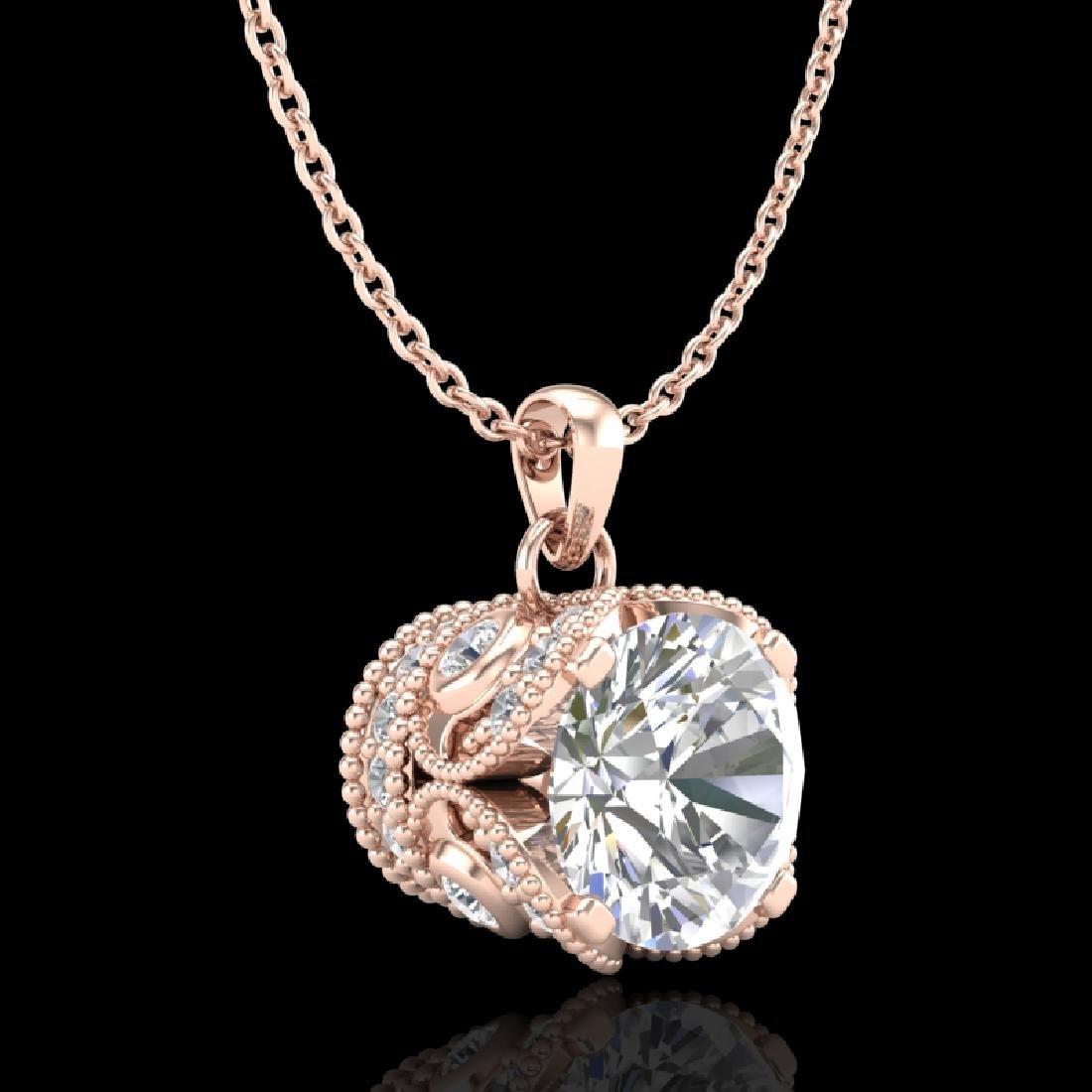 1.13 CTW VS/SI Diamond Solitaire Art Deco Stud Necklace - 3