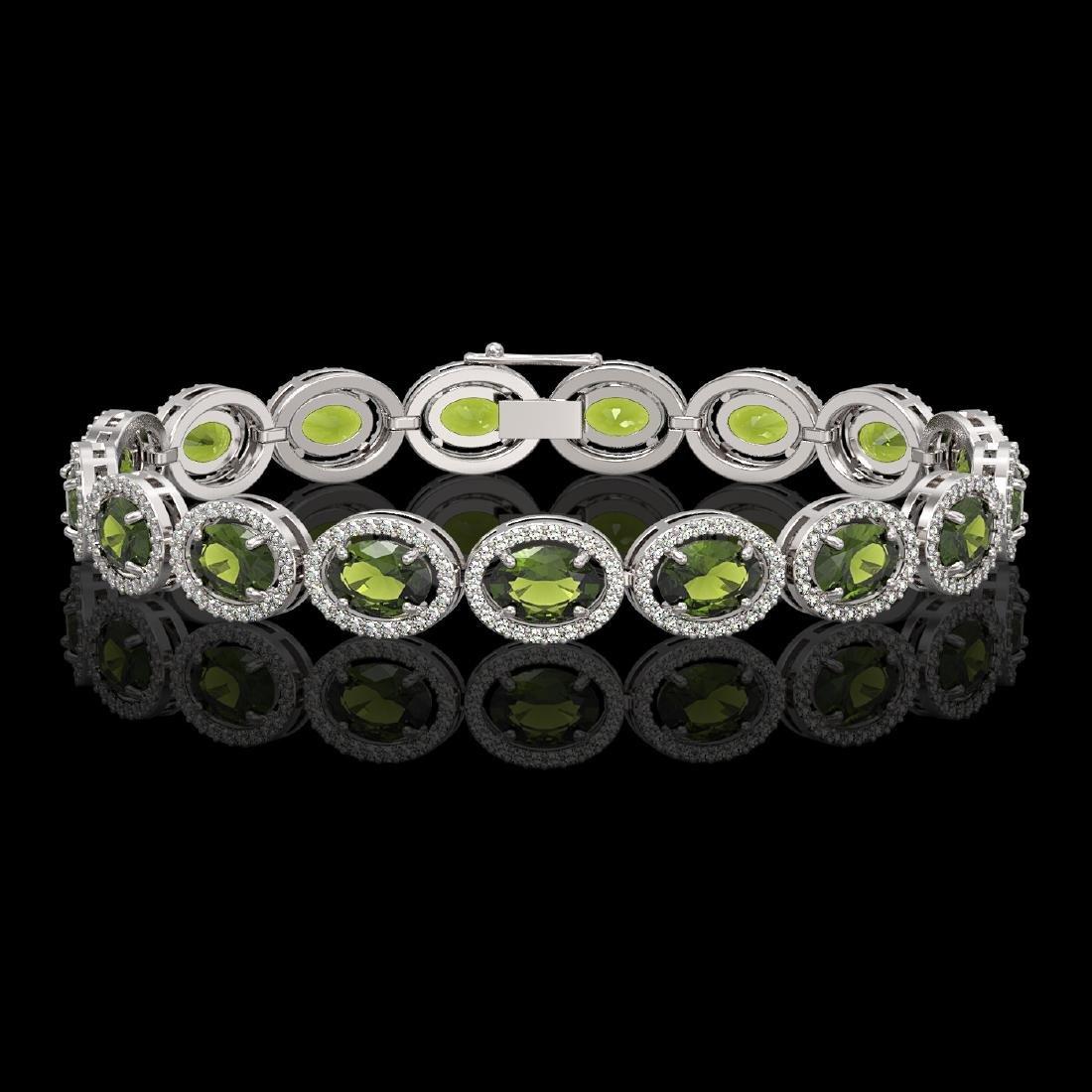 21.71 CTW Tourmaline & Diamond Halo Bracelet 10K White