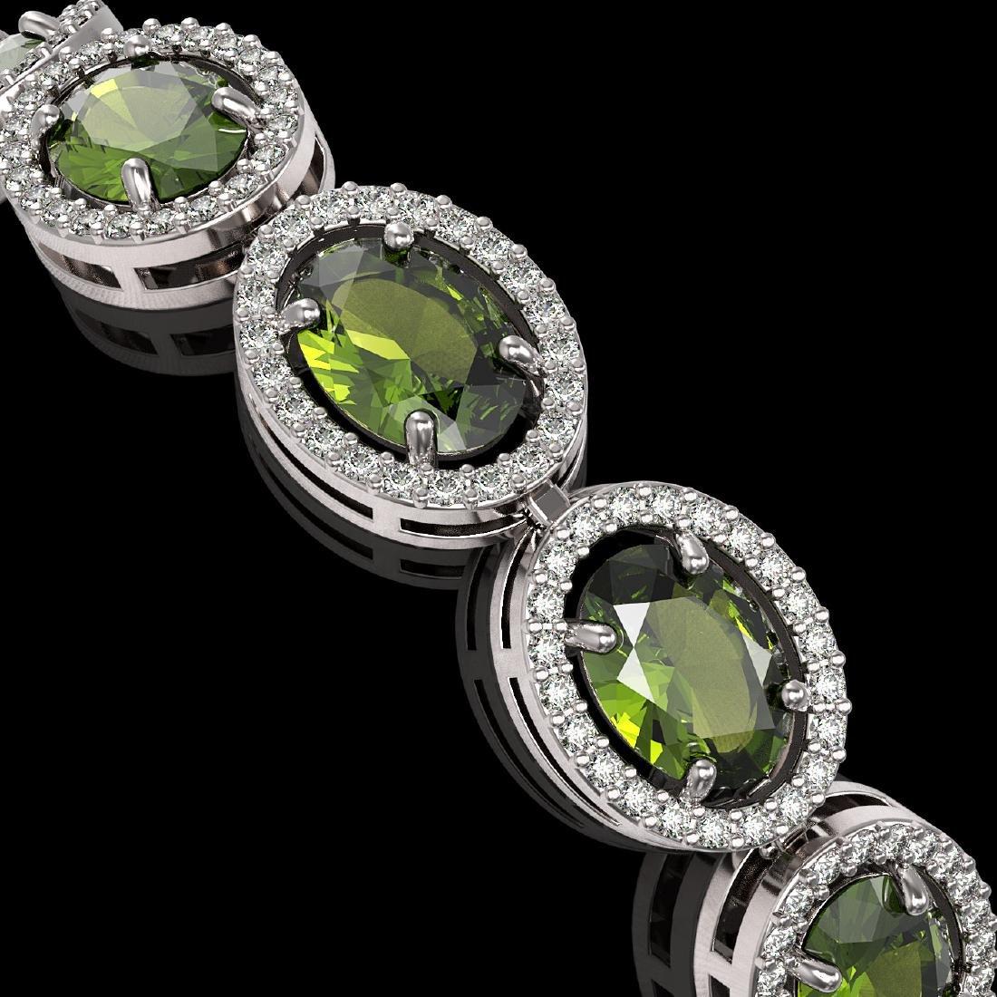 21.71 CTW Tourmaline & Diamond Halo Bracelet 10K White - 3