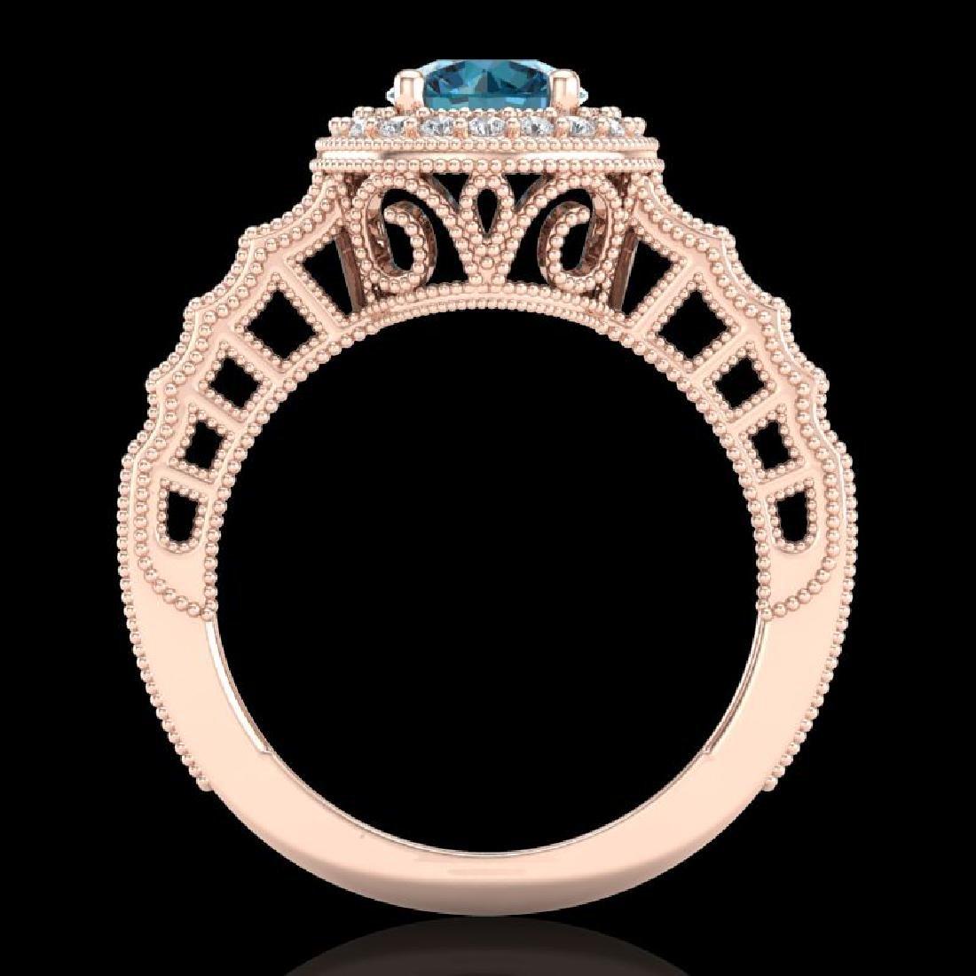 1.53 CTW Fancy Intense Blue Diamond Solitaire Art Deco - 3
